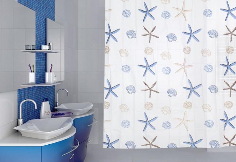 Занавеска для ванной 'Sea Blue' в интернет-магазине Идеальная Ванная: фото