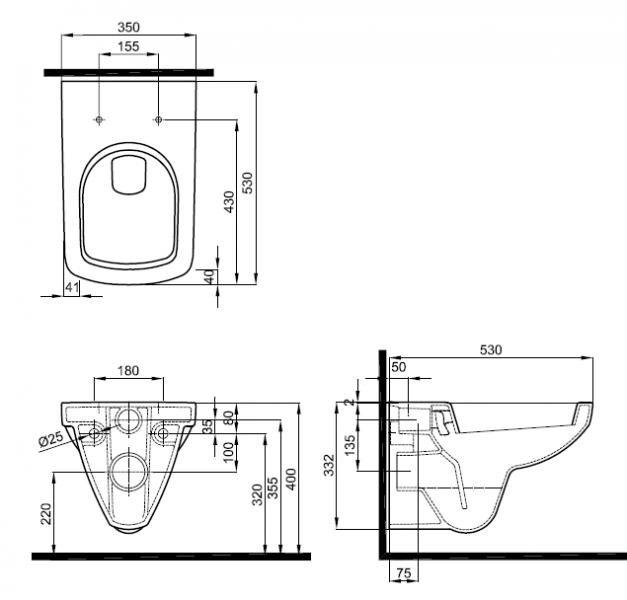 Унитаз подвесной 'Special' безободковый с сиденьем микролифт в интернет-магазине Идеальная Ванная: фото 2